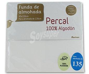 Auchan Funda de almohada de percal color blanco, 135/150 centímetros 1 Unidad