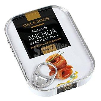 DIA DELICIOUS Filetes de anchoa del cantábrico en aceite de oliva Lata de 55 g