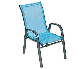 PROFILINE Silla infantil aplilable fija para jardín modelo Lars. Fabricada en aluminio con asiento y respaldo de textileno, de color azul 1 unidad