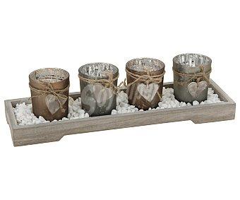 Koopman Bandeja de color marrón con 4 vasos portavelas de colores metálicos y rodeados de un cordel con un corazón colgando )