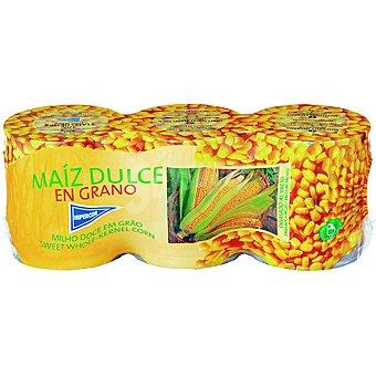 Hipercor Maíz dulce en grano neto escurrido Pack 3 latas 140 g