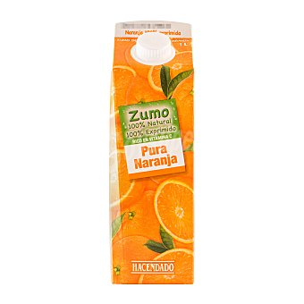 Hacendado Zumo naranja exprimida 100% (sin azúcar) Brik 1 l