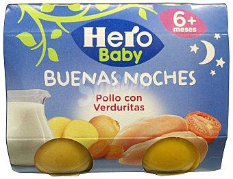 HERO BABY TARRITO POLLO CON VERDURITAS NOCHES A PARTIR 6 MESES PACK 2 u x 190 g - 380 g