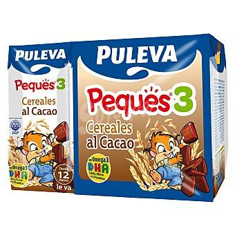 Puleva Leche infantil liquida crecimiento cereales Peques 3 al cacao a partir 1 año Pack 3 x 200 cc - 600 cc
