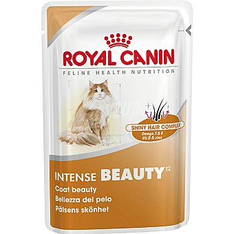 ROYAL CANIN INTENSE BEAUTY Alimento completo en forma de trocitos en salsa para la belleza del pelaje del gato adulto bolsa 85 g Bolsa 85 g