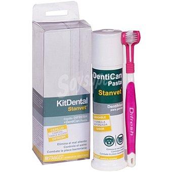 STANGEST kit dental para perro con cepillo de triple cabezal + pasta Envase 1 unidad