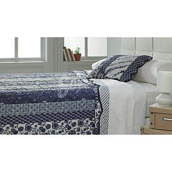 CASACTUAL MM 13153 Colcha bouti con estampado mediterráneo en color azul para cama 150 cm