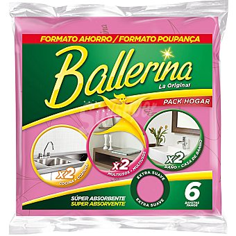 Ballerina pack bayetas hogar super absorbentes 2 multiusos 2 cocina y 2 baño envase 6 unidades