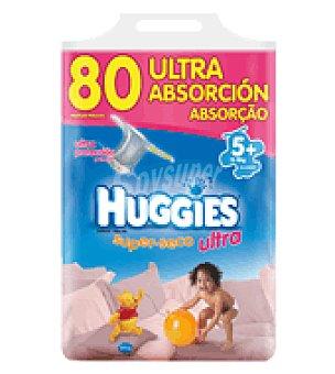 Huggies Pañal super seco ultra t5 13 a 18kg 80 ud