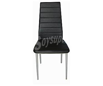 Sdpe Silla para comedor modelo Coctel, estructura metálica y tapizada en polipiel negra, 96x42x42 centímetros 1 unidad