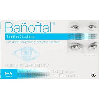 Bañoftal Toallitas oculares con ácido hialurónico y extractos naturales caja 20 unidades 20 unidades