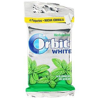 Orbit White chicle sabor hierbabuena sin azúcar Pack 4 paquetes x 10 grageas