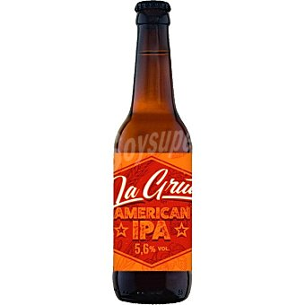 La grua Cerveza rubia artesana Sin Gluten de Cantabria variedad American IPA botella 33 cl Botella 33 cl