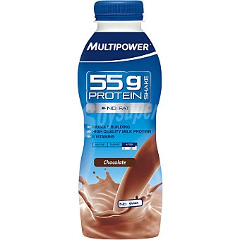 Multipower Batido de proteína 55g sin carbohidratos sabor chocolate botella 500 ml 55g
