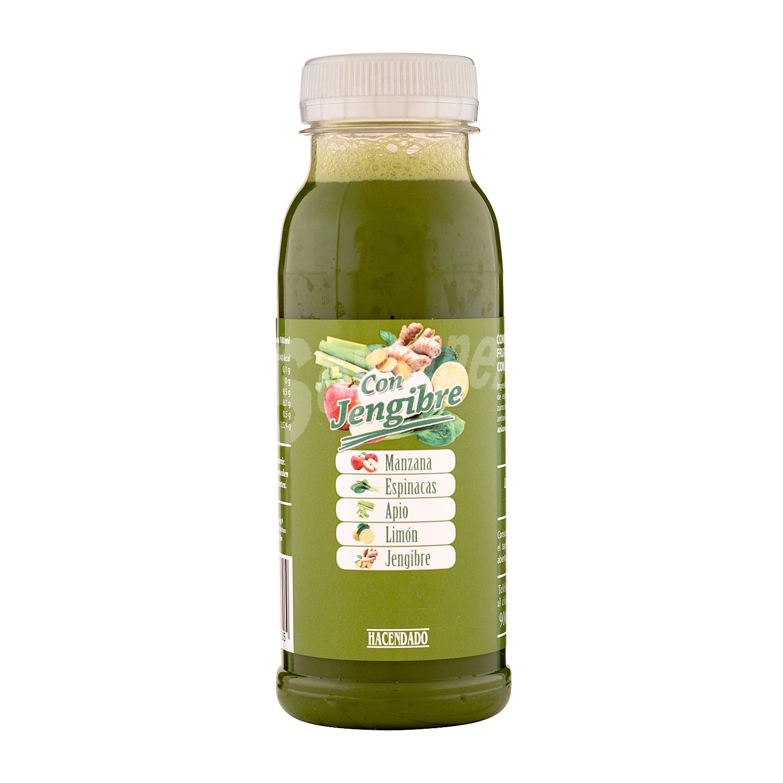 Hacendado Zumo fruta y verdura con jengibre refrigerado (manzana,espinaca,  apio y limon) Botella 250 ml