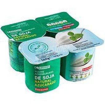Eroski Sannia Yogur de soja natural azucarado Pack 4x125 g