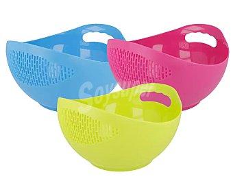 MENAJE Bol con colador de plástico de 20 cm. en 3 colores surtidos, menaje.
