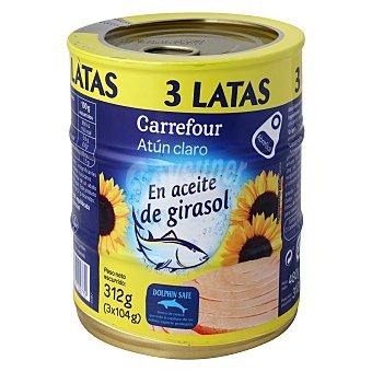 Carrefour Atún claro en aceite de girasol Pack de 3x104 g