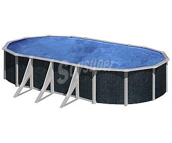 GRE Piscina ovalada reforzada con pared de acero, exterior en imitación a rattan, escalera de seguridad de tijera, depuradora de arena con capacidad de 4000 litros/hora, medidas de 730x375x120 centímetros y capacidad de 26280 litros 1 unidad