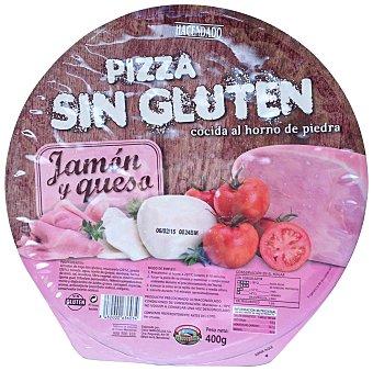 Hacendado Pizza congelada sin gluten jamon york queso u 400 g