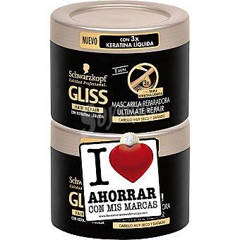 Gliss Mascarilla reparadora Ultimate Repair para cabello muy seco pack 2 tarro 200 ml (pack precio especial) Pack 2 tarro 200 ml