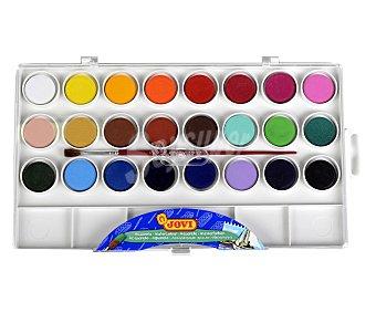 Jovi Caja de 24 acuarelas de diferentes colores + pincel 1 unidad