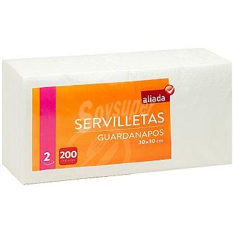 Aliada Servilletas blancas 2 capas 30x30 cm Paquete 200 unidades