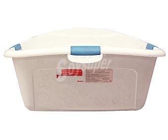 Auchan Cesta de plástico color blanco y asas azules, 45 litros 1 Unidad