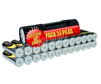 DAYRON Pilas alcalinas AA LR6 1,5V Pack de 24 unidades + regalo de minilinterna led