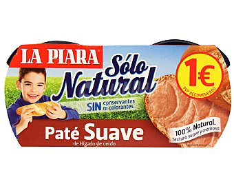 La Piara Sólo Natural Paté Suave 2 unidades de 75 g