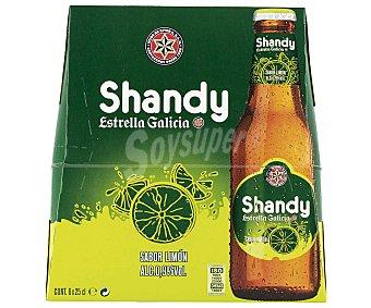 SHANDY ESTRELLA GALICIA Cerveza sin alcohol sabor limón Pack 6 botella 25 cl