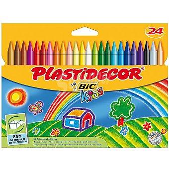 Plastidecor Bic Estuche con 24 ceras de colores Kids 24 unidades