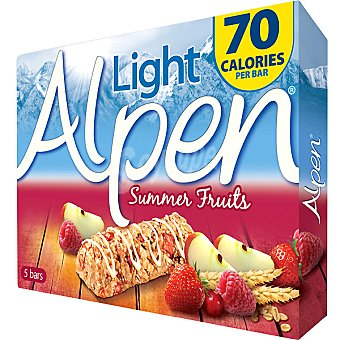 ALPEN Light Summer Fruits Barritas de cereales con frutas de verano Pack de 5x19 g