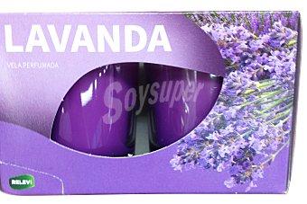 RELEVI Vela vaso cristal aroma lavanda 2 unidades