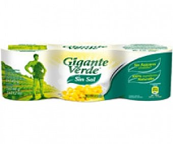 Gigante Verde Maíz Sin Sal Pack 3 Unidades de 140 Gramos