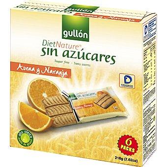 Gullón Diet Nature Galletas de avena y naranja sin azucares añadidos paquete 144 g Paquete 144 g