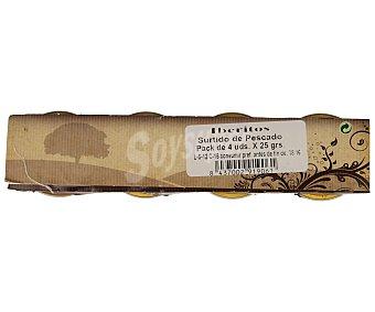 Iberitos Surtido de patés (paté de bacalao con ajo, paté de atún, paté de sardinas en aceite y paté de salmón ahumado) Pack de 4 unidades de 25 gramos
