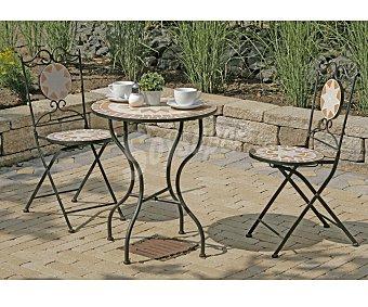 PROFILINE Set de mobiliario de balcón modelo Finca, compuesto por 2 sillas plegables con asiento y respaldo de mosaico de 48x93 y 1 mesa con tablero también de mosaico de 61x71 centímetros, todo ello fabricado en hierro de color bronce 1 unidad