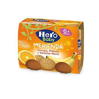 Hero Baby Tarro plátano naranja galleta a partir 6 meses Pack 2 tarros x 190 g