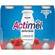 Yogur líquido L-casei con sabor a fresa Pack 6 botellines x 100 g Actimel Danone
