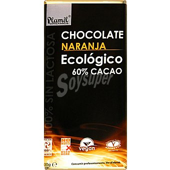 Plamil Chocolate naranja ecológico 60% cacao 100% sin lactosa Tableta 100 g