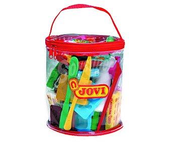 Jovi Tacos de plastilina de diferentes colores, con accesorios para modelarla y una cómoda bolsa transparente con cierre de cremallera y asa para tenerlo todo recogido 1 unidad