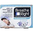 Tiras nasales grandes transparentes para la congestión nasal y antirronquidos caja 10 unidades 10 unidades Breathe Right