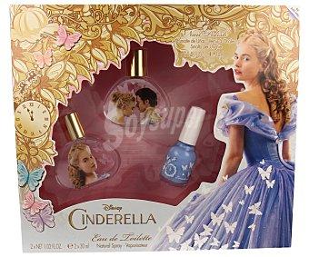 DISNEY Cinderella Set de dos colonias infantiles en spray (30ml x 2) más pintauñas 1 unidad