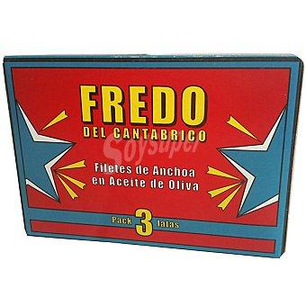 FREDO DEL CANTABRICO Filetes de anchoa en aceite de oliva pack Latas 30 g neto escurrido