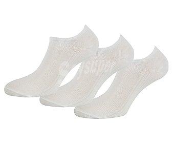 Pompea Pack de 3 pares de calcetines tobilleros para hombre color blanco, talla 39/42