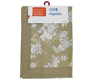 Auchan Camino de mesa estampado color beige, algodón, 50x145 centímetros 1 Unidad