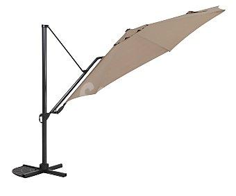GARDEN STAR Parasol inclinable de forma lateral de color marrón con estructura de aluminio de 8 varillas y 3.5 metros 1 unidad