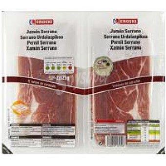 Eroski Jamón serrano Pack 2x125 g