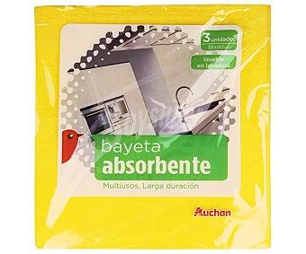 Auchan Pack bayeta amarilla 3 unidades